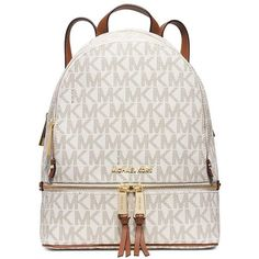 Michael Michael Kors Rhea Small Signature Backpack ($298) ❤ liked on Polyvore featuring bags, backpacks, vanilla, knapsack bag, backpack bags, white backpack, white bag and top handle bags