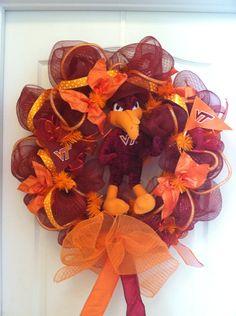 Virginia Tech Hokies wreath poly mesh deco mesh decorative wreath