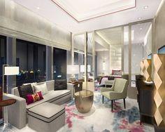 Shangri-La Hotel Jing An rendering of Guest Room A by HBA/Hirsch Bedner Associates.
