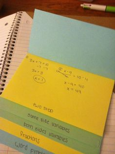 Solving equations flip book foldable; maybe make a flip book for long division steps