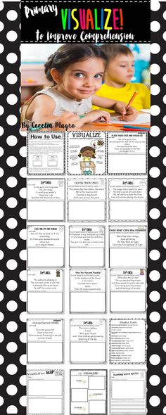 Visualizing is one of my favorite reading comprehension strategies to teach! This pack is filled with engaging activities that can be used to teach the important skill of visualization.    This 34 page product includes 12 original texts for creating mental images. It also has an anchor chart, a fabulous mentor text list as well as 4 other sheets that can be used with any book. Your students will love these fun engaging activities!   You can use this product in a variety of ways; whole group, gui
