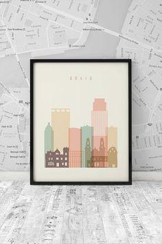 Nebraska skyline Omaha Print Poster Wall Art by ArtFilesVicky