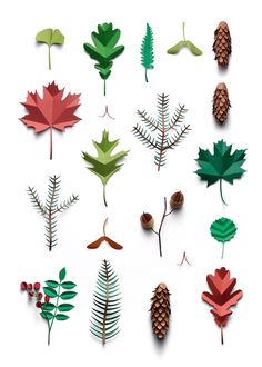 Paper leaves collections by Fideli Sundquist 3d Paper Crafts, Paper Toys, Diy Paper, Diy And Crafts, Kirigami, Paper Leaves, Paper Flowers, Design Set, Origami Paper