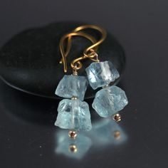 Aquamarine Nugget Duo Earrings by JillMcCrystalJewelry on Etsy