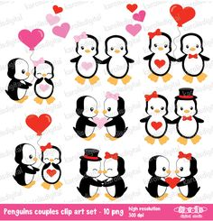 Love Penguins couples  Valentine's day  clip art by karolisdigital, $5.00