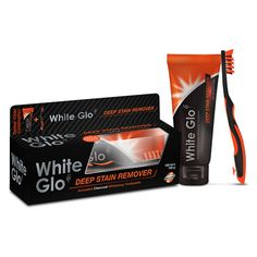 White Glo Charcoal Deep Stain Remover Toothpaste & Toothbrush 100 ml + 1 st White Charcoal, Activated Charcoal, White Teeth, Mouthwash, Whitening, How To Remove, Deep, Cleaning, Coffee