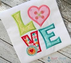 LOVE Heart Applique - 3 Sizes! | Valentine's Day | Machine Embroidery Designs | SWAKembroidery.com East Coast Applique