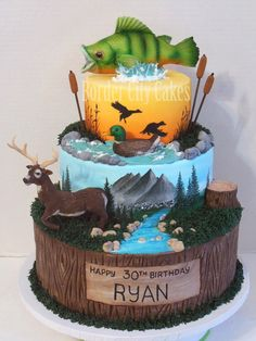 Sportsmans Cake - All edible (other than the cat tails). Airbrushed and hand painted details. :) I like this for a grooms cake Cupcakes, Cupcake Cakes, Beautiful Cakes, Amazing Cakes, Hunting Birthday Cakes, Fishing Birthday Cakes, 30th Birthday Cakes For Men, Camo Cakes, Boy Cakes