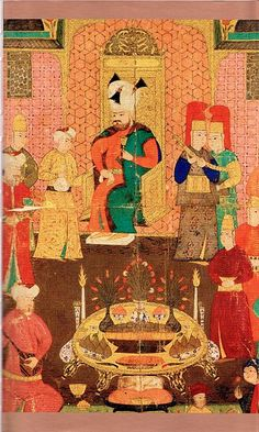 Sultan Murat IV dining with his court. A golden cup, a tablet with fresh flowers and frish fruits and porcelain plates are in front of him. Murad Iv, Empire Ottoman, Ottoman Turks, Cultural Identity, Medieval Clothing, Illuminated Manuscript, North Africa, Islamic Art, Lovers Art