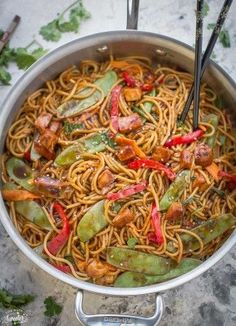 Easy Vegetable Lo Mein Noodles made in the crockpot is easier, healthier & better than take-out! Our favorite & best dish for the slow cooker. Delicious!