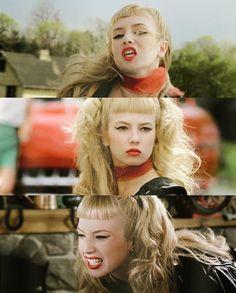 Traci Lords as Wanda Woodward in  Cry-Baby (1990) #hair #blonde #hairdo #bangs #shortbangs #hairstyles