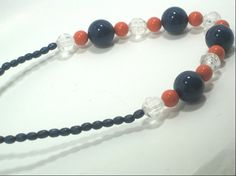Chunky Beaded Blue Orange Necklace by cynhumphrey on Etsy, $18.99