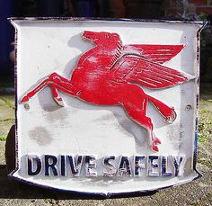 Mobil Pegasus Drive Safely Cast Sign VW Hotrod Vintage Volkswagen Ford Rod | eBay