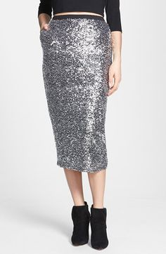 Leith Sequin Midi Skirt available at #Nordstrom