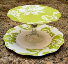 Dollar store plates & candle holder creates a beautiful cupcake stand!
