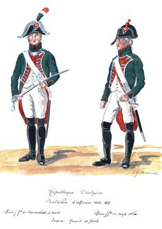 Cisalpine Republic; Officers Battalion 1800-01. Officier de Commandant Unit & Officier de Simple Soldat