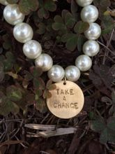Take a Chance Hand Stamped Pearl Stretch Bracelet