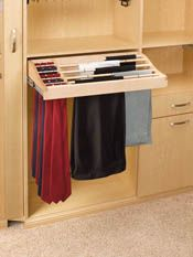 Pant Organizer Wood Pullout with Tie Rack for Closet
