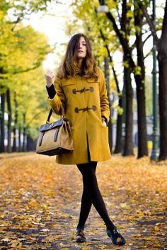 pea coat, tights, oxfords, purse, mustard, black, color, fall, fashion