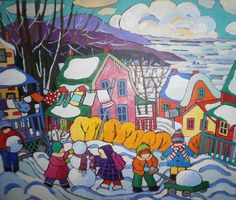 Charity Card - In support of Children's Wish Foundation Canada, featuring the art of Terry Ananny Children's Wish Foundation, Make A Wish, How To Make, Canadian Art, Naive Art, Winter Scenes, Holiday Cards, Folk Art, Charity