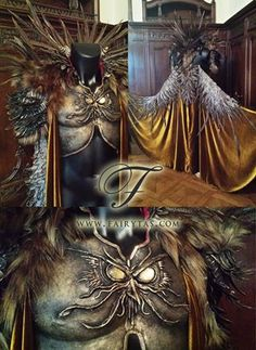 """""""Von Rothbard armor and cape for the host of @[808258172551203:844:Gala Nocturna 2015 - The Swan Princess]. I really wanted to give an 'evil twisted owl sorcerer' vibe to it: wild but refined. I combined armor, faux fur, feathers and silk velvet. The owl on the chest piece was hand sculpted with apoxy sculpt. Folded out, the cape has full 'wings' from the back. I created a feather 'spine' to make the look even more menacing and absurd. The inside of the costume is padded with velvet as well…"""