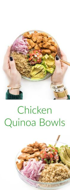 This healthy make-ahead chicken burrito bowl is filled with protein-rich quinoa, creamy avocado, pico de gallo and pickled onions. The ultimate high protein, gluten free lunch or dinner recipe.