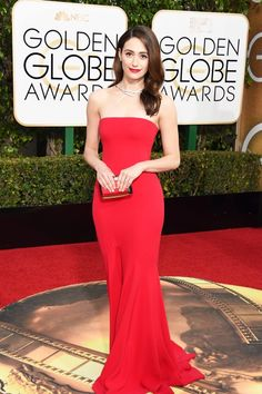 Emmy Rossum in Armani Privé at the Golden Globes
