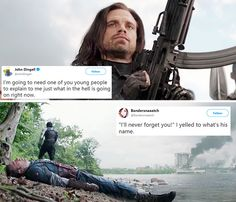 """Bucky Barnes + text posts <<<--- """"I yelled to what's his name"""" hahaha <<< one of you young people. Marvel Funny, Marvel Avengers, Marvel Comics, Marvel Kids, Avengers Memes, Marvel Memes, Bucky And Steve, Dc Memes, Papi"""