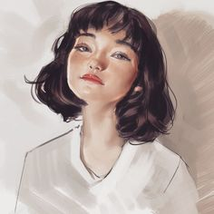 Sketches, by Ahmed Aldoori. Ahmed Aldoori, Short Hair Drawing, Portrait Art, Portraits, Digital Art Girl, Girl Short Hair, How To Draw Hair, Anime Art Girl, Aesthetic Art