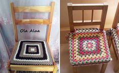 Вязаные накидки на стулья Бабушкин квадрат крючком. Схема и описание