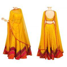 Bollywood Replica - Designer Yellow Raw Silk Lehenga Choli - S1022
