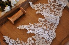 scallop alencon lace trim in off white for veil ,bridal gown, costume Red Tutu, Veil, Lace Trim, Bridal Gowns, Off White, Costumes, Sewing, Trending Outfits, Unique Jewelry
