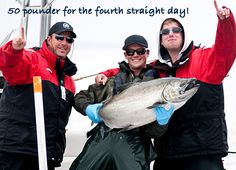 50 pounder for the fourth straight day!  Another huge Spring salmon, Naden Harbour, British Columbia.