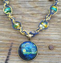 Handmade Starry Night Hemp Necklace Jewelry Van Gogh