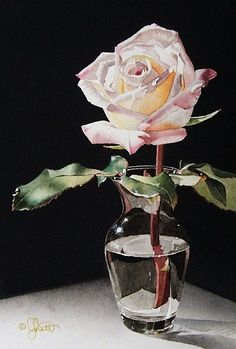 Rose in Glass Vase, By Jacqueline Gnott. Watercolor it looks like. I like how the artist did a good job with the water and the glass, plus the soft tones of the rose petals.