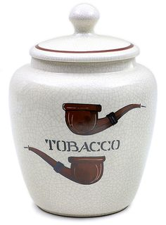Accessories: Pipe Accessories Savinelli Large Antique Ceramic Tobacco Jar with Pipes at Smokingpipes.com