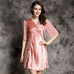 c53aa4ca1c Women-Sexy-Sleepwear-100-Silk-Summer-Spring-and-