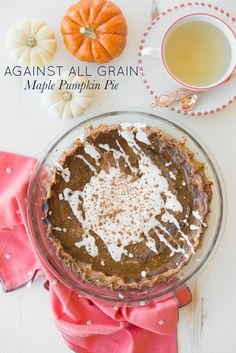 Celebrating Danielle Walker's new book with Against All Grain Maple Pumpkin Pie. This is the pumpkin pie of your dreams; made grain-free, gluten-free, dairy-free, and completely delicious!