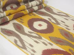 yellow brown ikat fabric by the yard ikat ikat fabric by SilkWay, $16.90