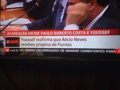 Viraliza no Twitter foto da Globonews em que delator acusa Aécio de receber dinheiro de corrupção