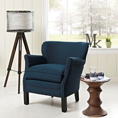 Key Fabric Armchair in Azure
