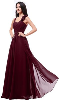 Balllily Women's Formal Bridesmaid Dress Gown Size 4 Burgundy at Amazon Women's Clothing store: