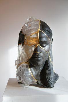 Kintsugi Head 1 Billie Bond Sculpture Saatchti Art