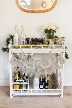 Even if the bar cart itself if simple and boring, it could be easily spiced up with decorations
