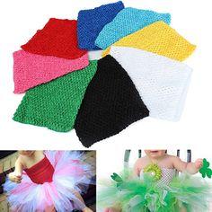 96ecb3c581 Description   9 inch Children Girls Crochet Tube Top Elastic Waistband Head  Hairband DIY Girls Tutu Fluffy Skirt Wrap Chest Woven crochet tube top for  craft ...