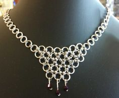 Flat, Japanese Chainmaille necklace with titanium colored Swarovski Crystal drops.. $65.00, via Etsy.