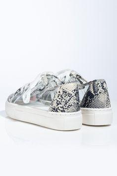AKIRA Snakeskin PVC Lace Up Flatform Sneaker In Snake Flatform Sneakers, Boy Bye, Your Shoes, Akira, Snug Fit, Snake Skin, Barefoot, Lace Up, Heels