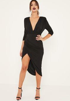 Missguided - Black Slinky Wrap Asymmetric Midi Dress