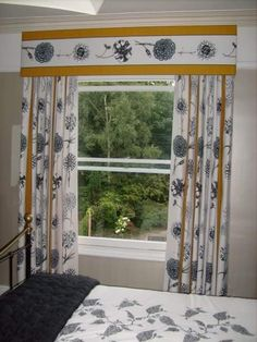 Discover some great ideas for curtain pelmets that would work in your home. These curtain ideas will make your window treatment. Curtain Pelmet, Valance, Curtains, Cornice Boards, Pelmets, Roman Blinds, Fabric Covered, Own Home, Feng Shui