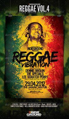 "Reggae Flyer/Poster Vol. 4  #GraphicRiver         Reggae Flyer/Poster Template Vol.4 ""Reggae Vib"